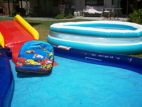 childrens pools, large, private landscaped backyard