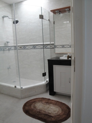 Double sized shower and vanity