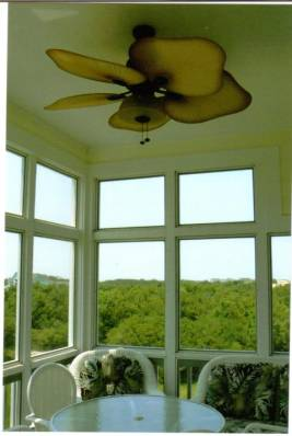 FAN AND WINDOWS SCREENED IN PORCH