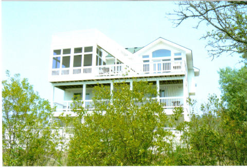 REAR OF HOUSE WITH OBSERVATION DECK AND SCREENED IN PORCH