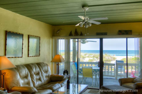 Dining and Living areas at Shack on the Sand Vacation Rent in Indian Rocks FL