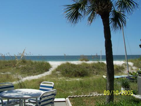 View to the beach from the porch at Shack on the Sand Vacation Rent in Indian Rocks FL