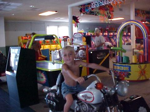 Grandson playing in Ocean Lakes arcade