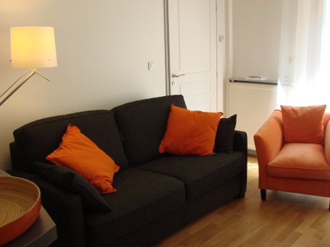 Tastefully decorated living room with sofa bed - Paris Vacation Apartments