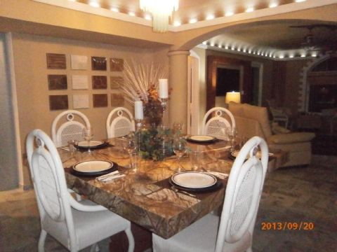 Dining Room with beautiful Granite table seats 8 comfortablyMast