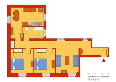 Plan of the apartment - Rome Vacation Apartments