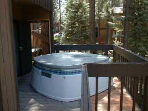Each unit has a private hot tub on an exterior deck