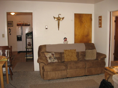 Alternate view of living room toward kitchen, 2nd full couch with recliners on each end