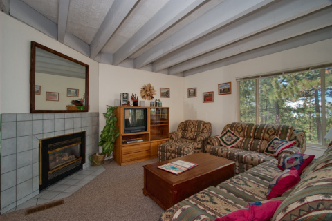 a gas fireplace and several TVs are included in each unit