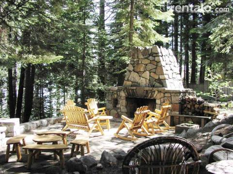 Old stone fireplace and patio Lake Tahoe Lakefront