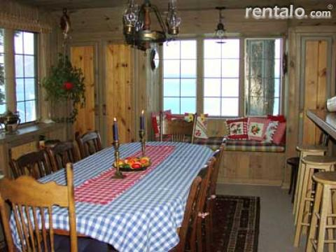Large dining table & breakfast bar at Lake Tahoe Lakefront